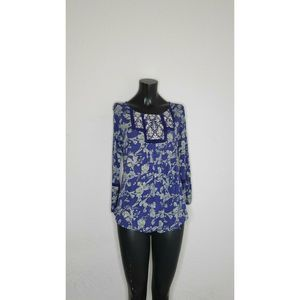 Lucky Brand Women's Knit Floral Print Blouse Blue